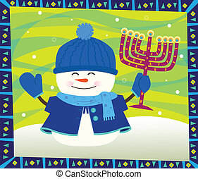 snowman, menorah