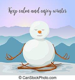 snowman, relaxed., yoga, invierno, montañas, loto, posture., pacífico, salida del sol