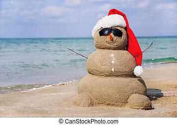snowman, ser, concepto, sand., utilizado, hecho, lata, año, tarjetas, nuevo, feriado, navidad, afuera