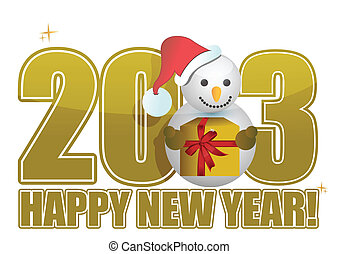 snowman, texto, año, nuevo, 2013, feliz