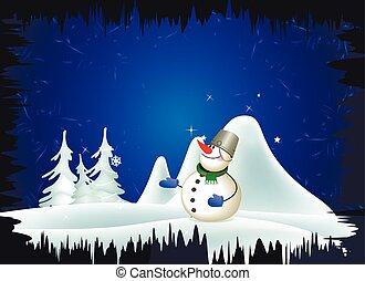 Snowman y el paisaje invernal