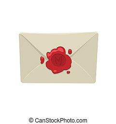 Sobre blanco de dibujos animados con foca de cera roja aislada en fondo blanco.