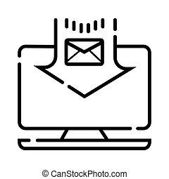 sobre, computador portatil, correo