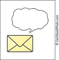 Sobre con burbuja de habla aislada en fondo blanco