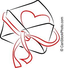 Sobre con corazón, ilustración, vector de fondo blanco.