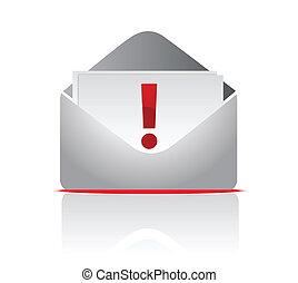 Sobre de correo con exclamación