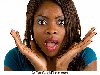 sobre, mujer, norteamericano, algo, africano, sorprendido