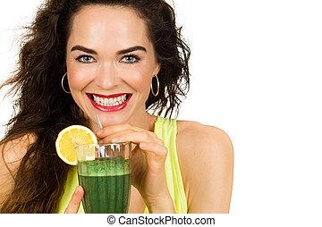 sobre, mujer, verde, bebida, smoothie.