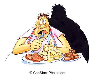 sobrepeso, enfatizado, comida, hombre