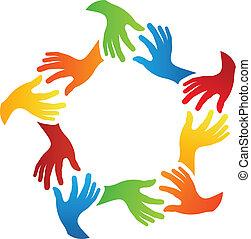 social, amigos, manos