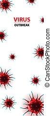 social, epidemia, virus, bandera, medios, coronavirus, ilustración, vertical