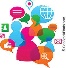 social, medios, backgound, red, iconos