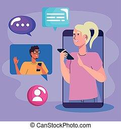 social, medios, smartphone, iconos, mujer, joven