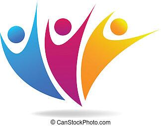 social, medios, vector, logotipo, gente