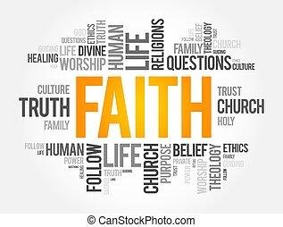 social, plano de fondo, collage, concepto, palabra, nube, fe