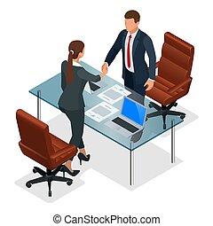 sociedad, concept., empresa / negocio, vector, oficina., o, entrevista, confrontación, constructivo, businesspeople, isométrico, ilustración, después, apretón de manos, productivo, negociación
