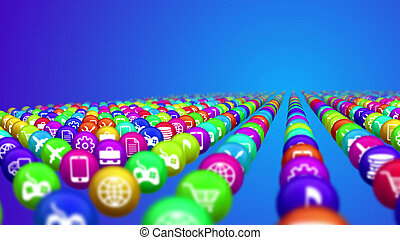 Socila medios de comunicación bolas en fila