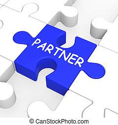 socio, rompecabezas, sociedad, trabajo en equipo, actuación