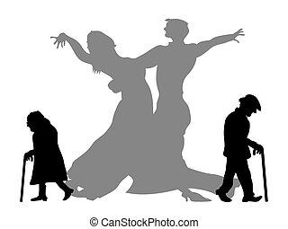 socio, ser, sueño, bailando