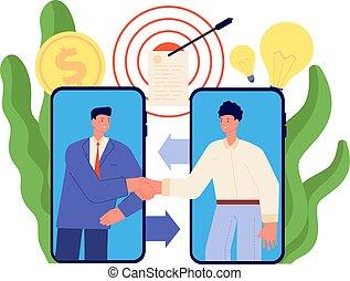 socios, agreement., apretón de manos, colaboración, vector, caricatura, tecnológico, relación, completo, en línea, communication., trato de la corporación mercantil, tela, concepto