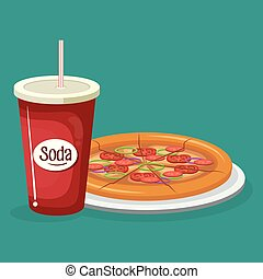 Soda con menú de comida rápida de pizza
