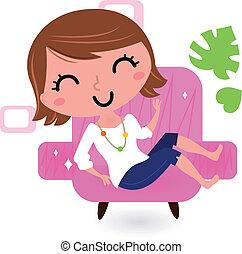 sofá, blanco, mujer, aislado, relajante
