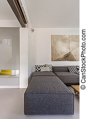 Sofá gris en la sala moderna