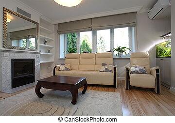 sofá, habitación, sillón, vida