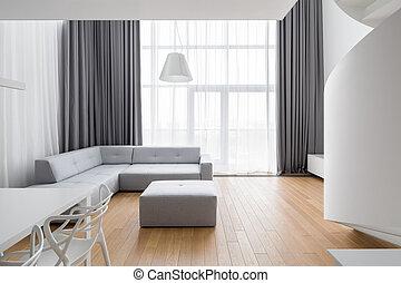 sofá, minimalista, sala