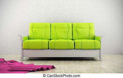 sofá, moderno, verde