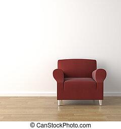 sofá, pared roja, blanco