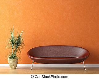 sofá rojo en la pared naranja