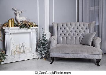 sofá, terciopelo, vida, suave, gris, room., navidad