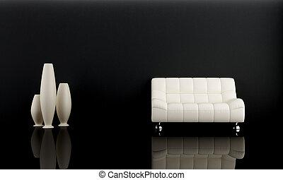 Sofa blanco en cuarto oscuro