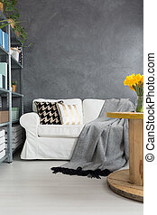 Sofa en la habitación gris