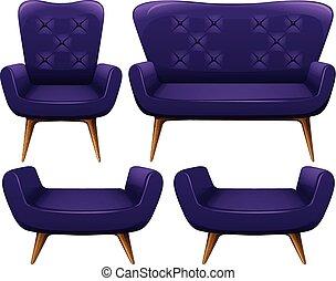 Sofa y sillas en púrpura