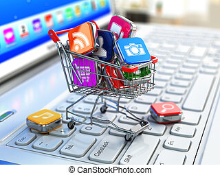 software., compras, iconos, computador portatil, apps, cart., tienda