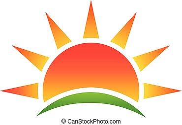 Sol abstracto, logotipo vector del medio ambiente