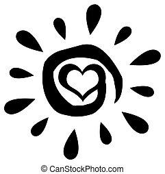 Sol abstracto negro con corazón