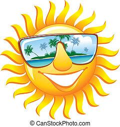 Sol alegre con gafas de sol