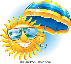Sol alegre con paraguas