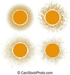 sol amarillo, halftone, formas