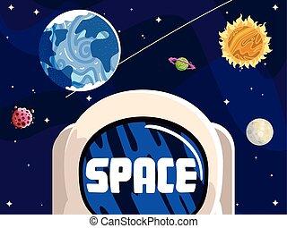 sol, astronauta, casco, solar, luna, sistema, espacio, asteroide, planeta