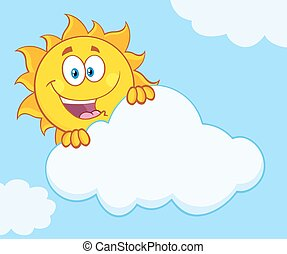 sol, atrás, feliz, nube, paliza