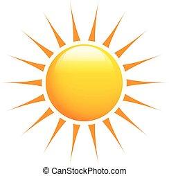Sol brillante con rayos naranjas