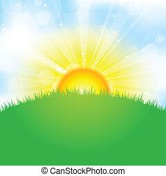 Sol, cielo y hierba