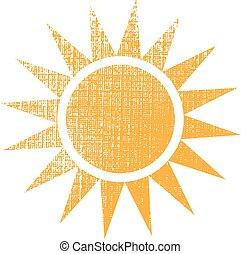 Sol con logotipo de textura. Diseño gráfico Vector