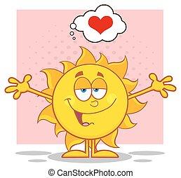 Sol con los brazos abiertos y un corazón