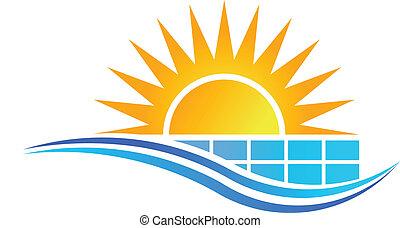 Sol con panel solar vector de logo