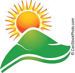 Sol con rayos de sol y logotipo de colinas